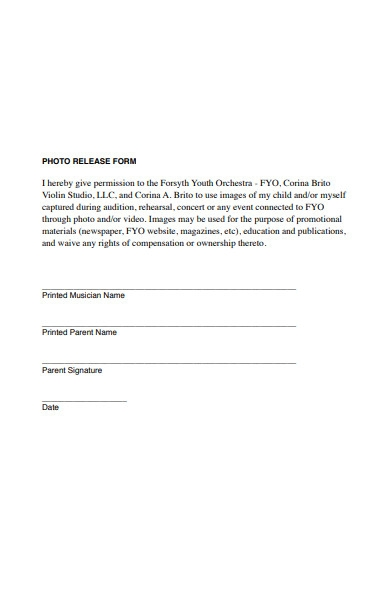 orchestra photo release form