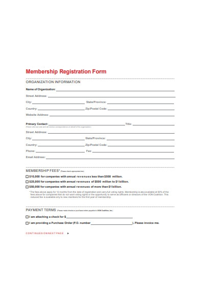 organization membership registration form