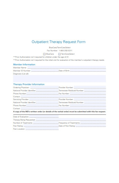 outpatient therapy request form
