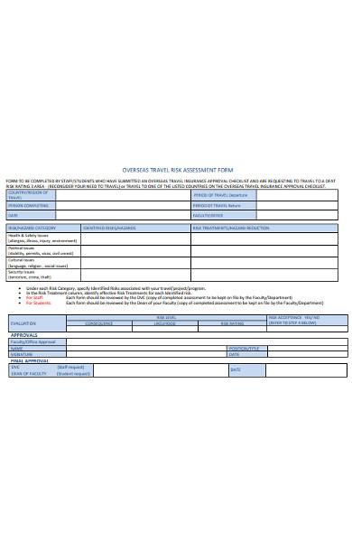overseas travel risk assessment form