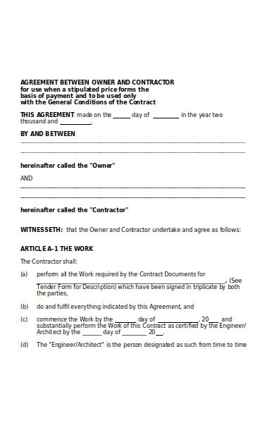 owner contract form