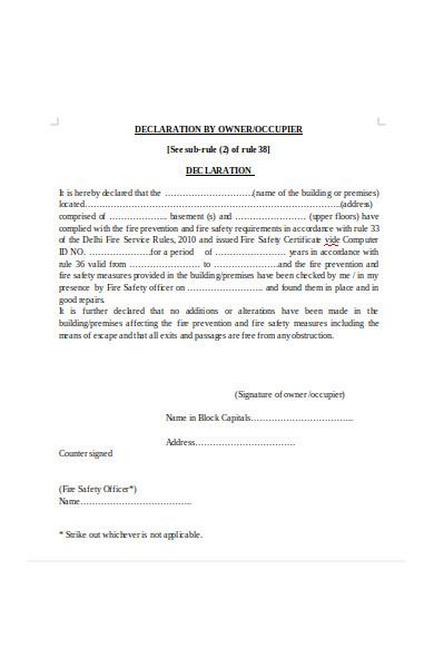 owner declaration form