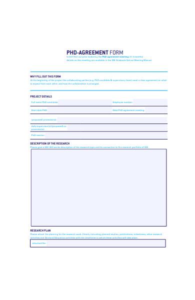 phd agreement form