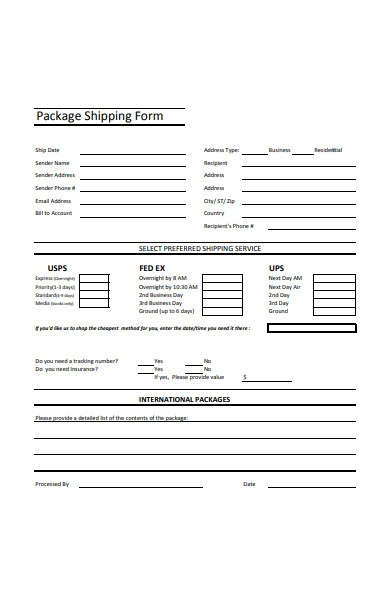 package shipping form