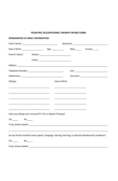 paediatric occupational therapy intake form