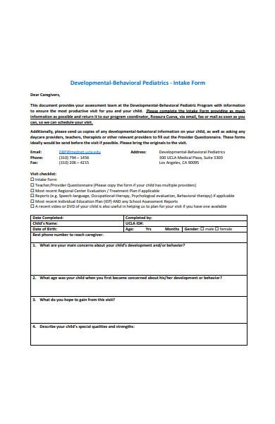 paediatrics intake form