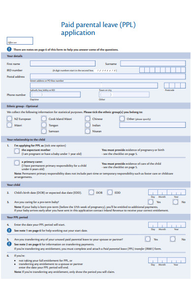 paid parental leave application form