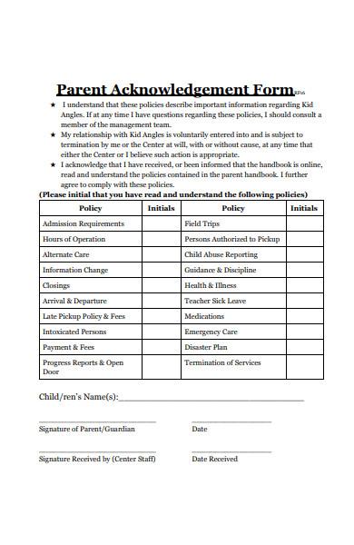 parent acknowledgement form
