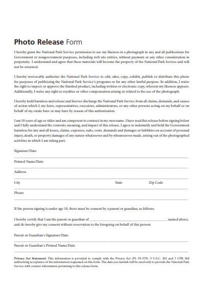 park photo release form