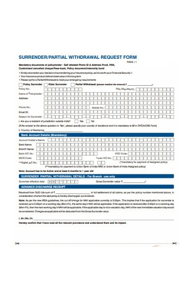 partial withdrawal request form