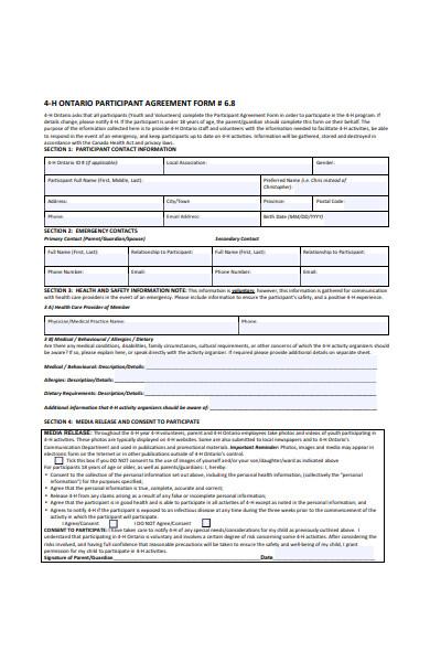 participant agreement form