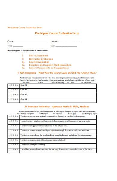 participant course evaluation form