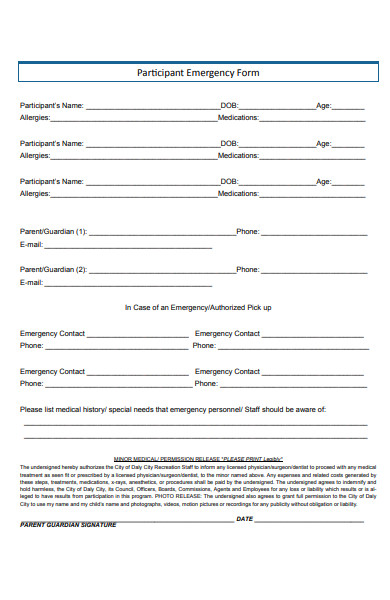participant emergency form