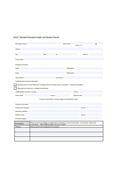 participant health and medical record