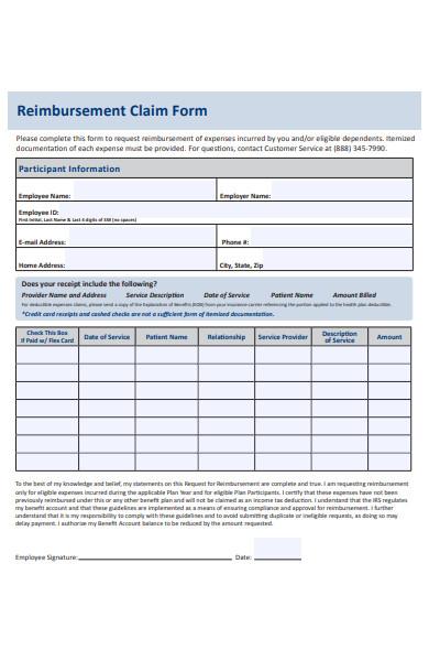 participant reimbursement claim form