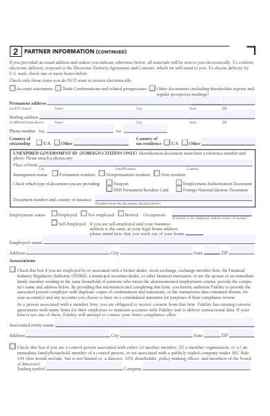 partnership account form
