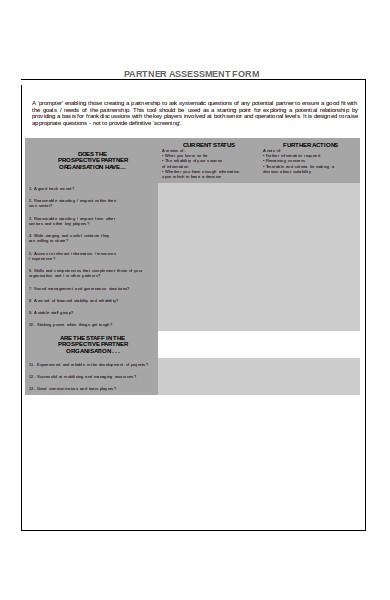 partnership assessment form