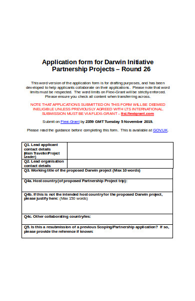 partnership projects application form