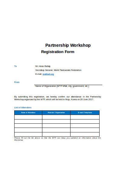 partnership workshop registration form