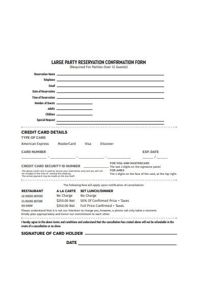 party reservation conformation form