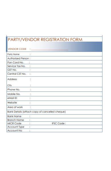 party vendor form