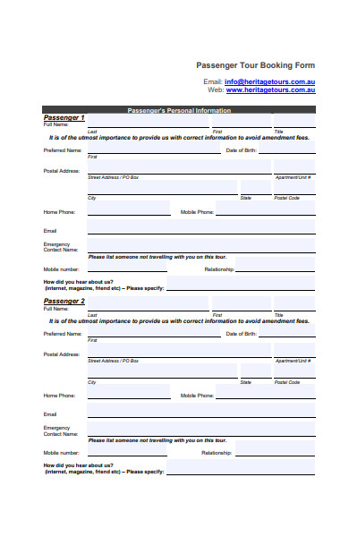 passenger travel booking form