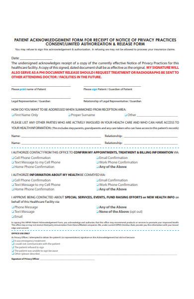 patient acknowledgement form