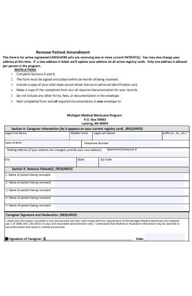 patient amendment form