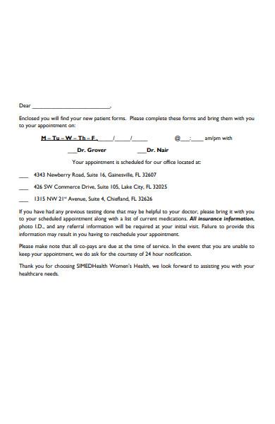 patient appointment form