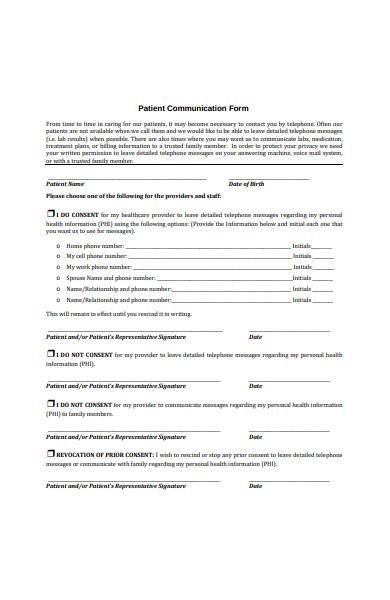 patient communication form