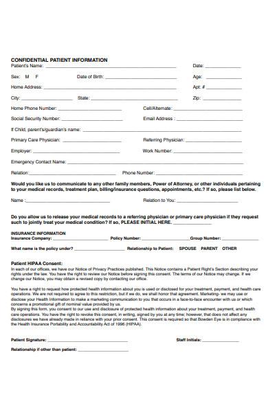 patient confidential information form