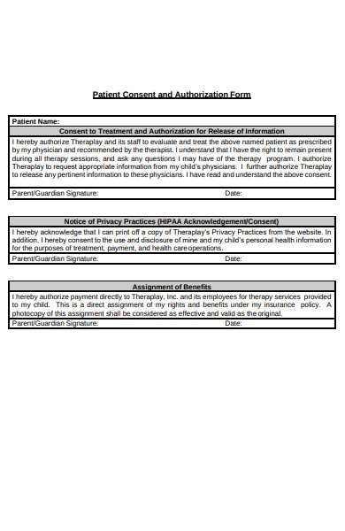patient consent and authorization form
