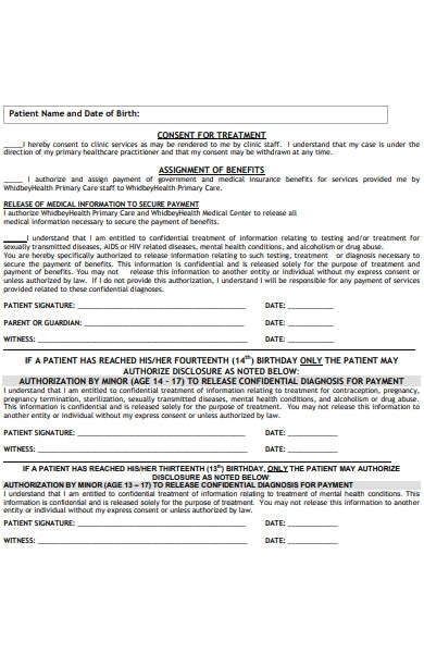 patient consent for treatment form