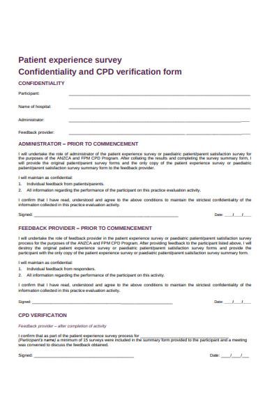 patient experience survey form