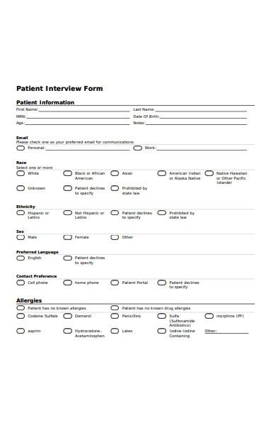 patient interview form