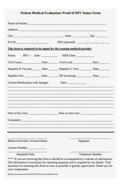 patient medical evaluation form