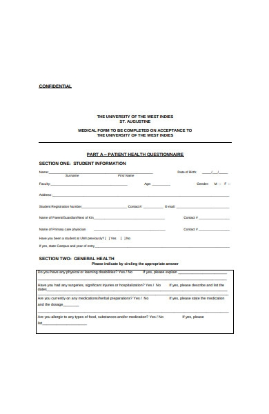 patient medical health questionnaire form