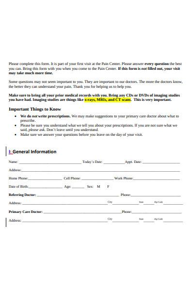 patient pain consultation form