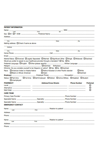 patient physician form