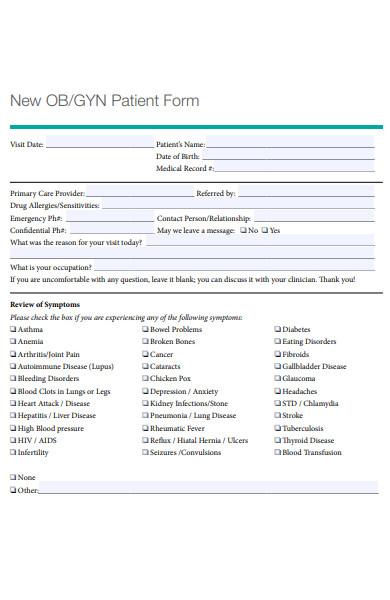 patient review of symptoms form