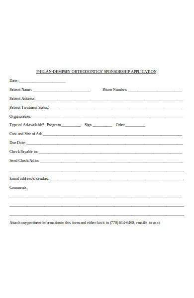 patient sponsorship application form