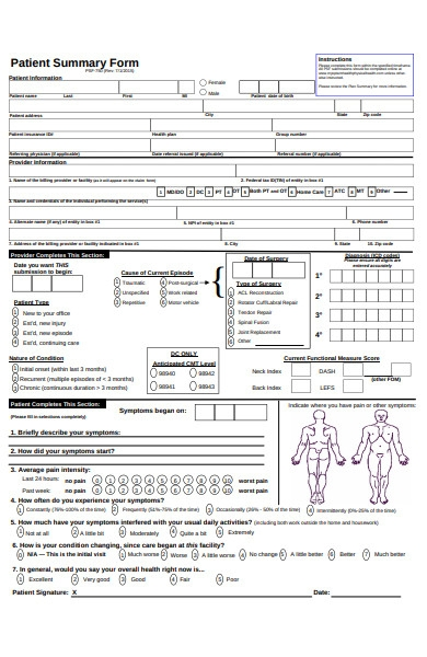 patient summary form