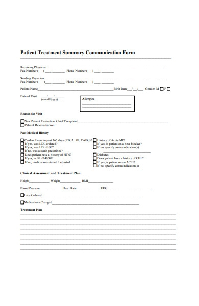 patient treatment summary communication form