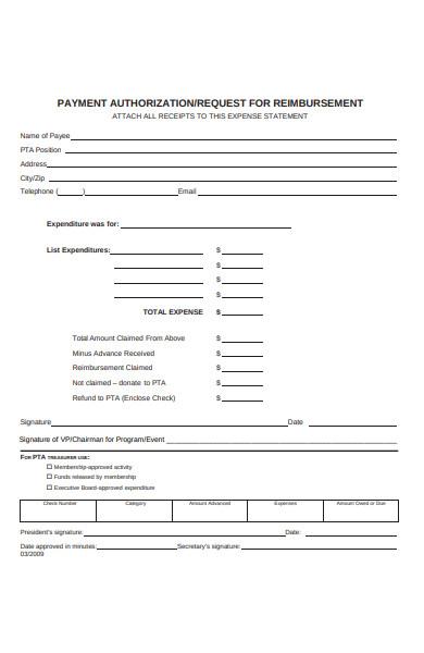 payment authorization reimbursement form