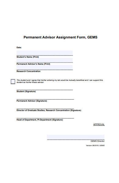 permanent advisor assignment form