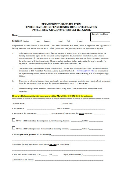 permission to register form