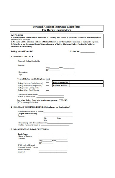 personal accident insurance claim form in pdf