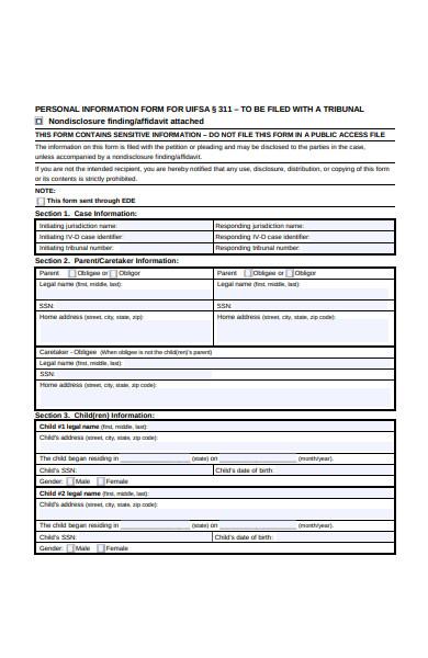 personal case details form