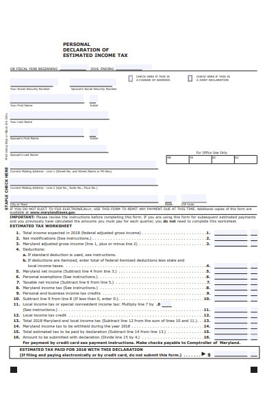 personal declaration of income tax form