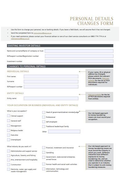personal details change form
